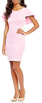 Adrianna Papell Knit Crepe Shoulder Cape Sheath Dress