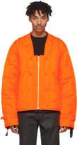 Helmut Lang Orange Quilted Thrown On Jacket