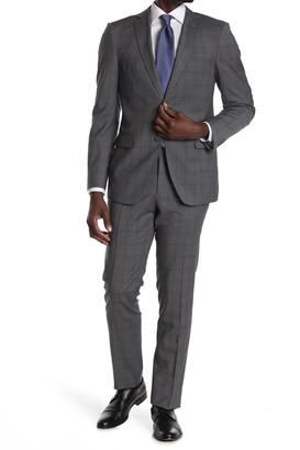 John Varvatos Collection Grey Plaid Two Button Notch Lapel Suit
