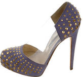 Brian Atwood Suede Embellished Pumps