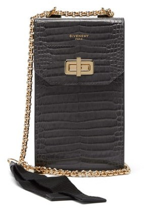 Givenchy Catena Crocodile-effect Leather Phone Case - Grey