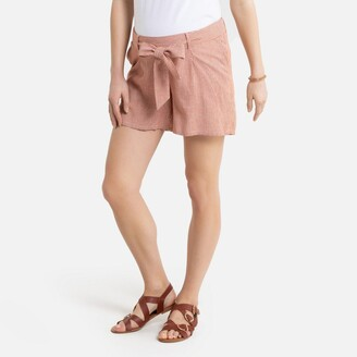 La Redoute Collections Linen Mix Maternity Shorts in Striped Print with Paperbag Waist