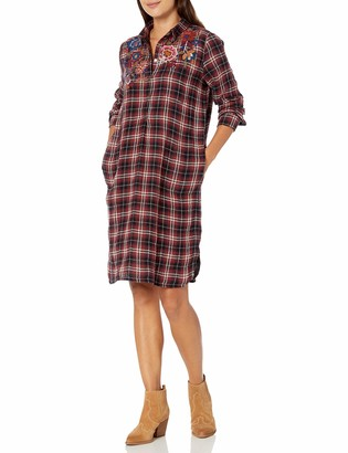 Johnny Was 3J WORKSHOP by Women's Plaid Collared Tunic Dress with Embroidery M