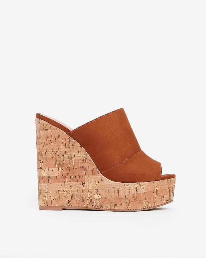 Platform Sandals Faux Cork Suede Wedge WH9ED2I
