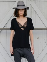 Daftbird Low Scoop Front Tuxedo Tee in Black