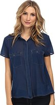 7 For All Mankind Women's Two-Pocket Blouse w/ Open Back Deep Indigo Blouse