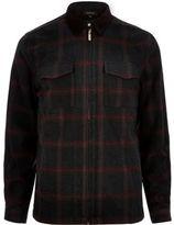 River Island MensBlack check flannel shirt jacket