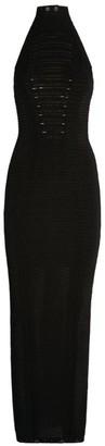 Balmain Halterneck Sheer Stripe Dress