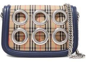 Burberry Eyelet-embellished Checked Jacquard Shoulder Bag