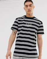 Parlez Editions stripe t-shirt with embroidered logo in black-Blue