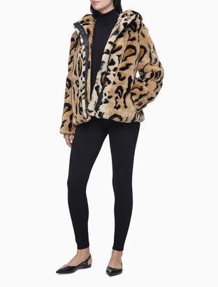 Calvin Klein Faux Fur Cheetah Zip Hooded Coat