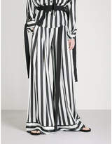 Ann Demeulemeester Striped wide-leg silk trousers