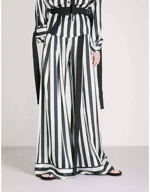 Ann Demeulemeester Striped wide-leg silk trousers
