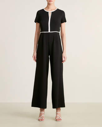 Donna Ricco Crepe Piping Jumpsuit