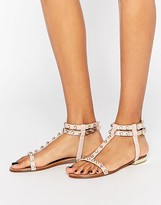 Dune Blush Snake Studded Gladiator Sandals