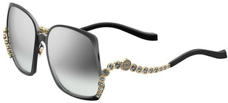 Elie Saab Square Titanium Sunglasses w/ Crystal Wave Arms