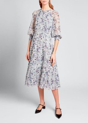 Erdem Floral-Print Silk Full-Sleeve Dress