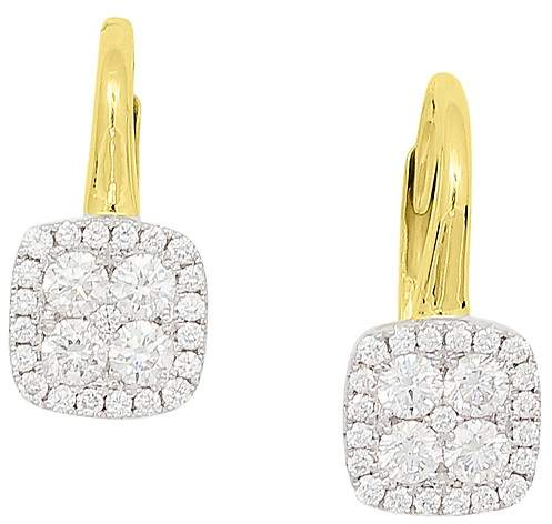 Frederic Sage 18K White & Yellow Gold Firenze Pavé Diamond Cushion Earrings