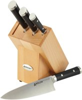 Anolon Cutlery 5-Piece Japanese Stainless Steel Knife Set, Black