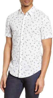 HUGO BOSS Ronn Slim Fit Print Short Sleeve Button-Up Linen & Cotton Shirt
