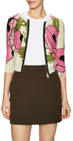 Tracy Reese Cotton Floral Zipper Cardigan