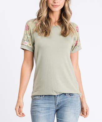 Cool Melon Women's Tee Shirts Sage - Sage Floral-Sleeve Raglan Tee - Women & Plus