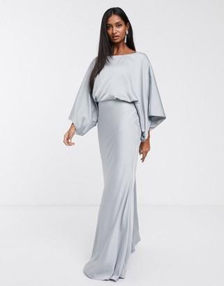 Asos Edition EDITION kimono plunge back maxi dress-Blue