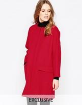 Helene Berman Zip Front Coat In Red