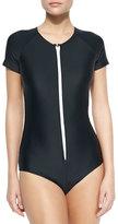 Cover Short-Sleeve Zip Swimsuit, Black