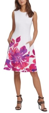 DKNY Floral-Border Fit & Flare Dress