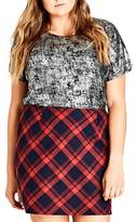 City Chic Check Mate Miniskirt