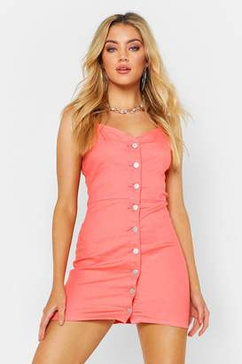 boohoo Button Front Bodycon Dress