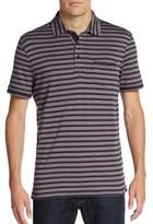 Saks Fifth Avenue BLACK Striped Pima Cotton Polo