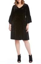 Karen Kane Plus Size Women's Bell Sleeve A-Line Velvet Dress