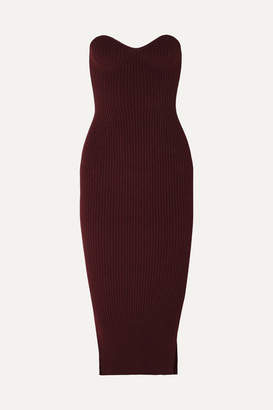 KHAITE Loie Strapless Ribbed-knit Midi Dress - Red