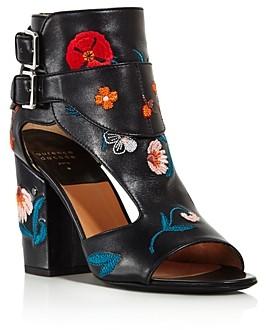 Laurence Dacade Women's Rush Floral Leather Block Heel Sandals