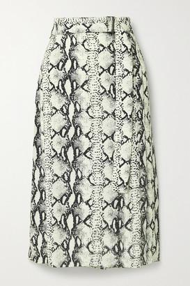 Jason Wu Belted Snake-print Crepe Midi Skirt - Beige