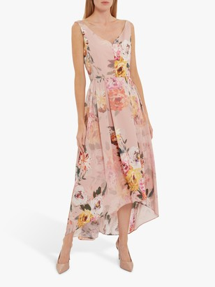 Gina Bacconi Marca Floral Dipped Hem Dress, Rose Pink