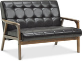Caden Mid-Century Faux Leather Loveseat, Quick Ship