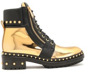 Balmain Army Ranger Studded Smooth And Mirrored-leather Ankle Boots