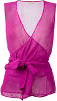 Etro sheer sleeveless wrap top