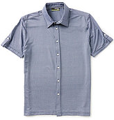 Murano Performance Comfort Stretch Short-Sleeve Slim-Fit Point-Collar Tile-Printed Shirt