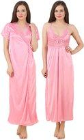 Fasense Women's Satin 2 Pcs Set Of Nighty & Wrap Gown