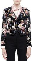 Saint Laurent Spencer Floral-Print Jacket, Beige Rose/Black
