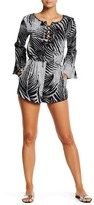 J Valdi Print Lace-Up Romper