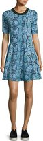 Kenzo Snake-Print Stretch Jersey Fit-and-Flare Dress, Midnight Blue