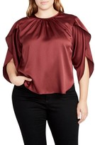 Rachel Roy Plus Size Women's Julia Satin Split Flutter Sleeve Top