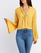 Charlotte Russe Tie-Neck Bell Sleeve Top
