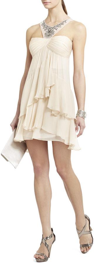 BCBGMAXAZRIA Joyce Beaded Silk Cocktail Dress