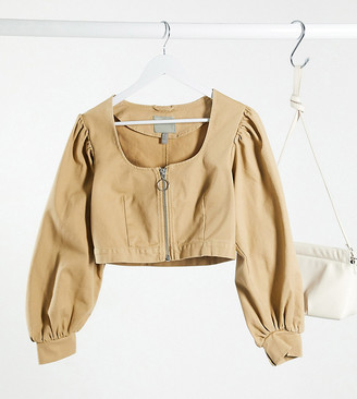 ASOS DESIGN Petite corset jacket with extreme sleeve in stone